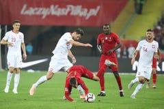 CHORZÓW, POLONIA - 11 DE OCTUBRE DE 2018: Liga 2019 de las naciones de la UEFA: Polonia - Portugal o/p William Carvalho Rafa Silv fotos de archivo