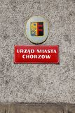 Chorzow City Hall. CHORZOW, POLAND - APRIL 7, 2018: City Hall (Urzad Miasta) in Chorzow, Poland. Chorzow is a medium city in Silesia region. 111,536 people live Stock Images