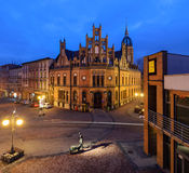 Chorzow in Poland. Historic post office edifice in the evening. Chorzow near Katowice in Poland. Historic post office edifice built in XIX century in neo-Gothic Royalty Free Stock Photo