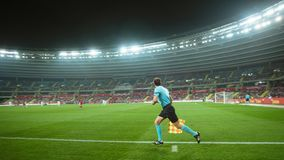 Poland vs Portugal 2:3 . In the picture assistant of referee stock photo