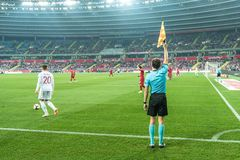 Poland vs Portugal 2:3 . In the picture assistant of referee stock image