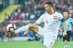 Poland vs Portugal 2:3 . In the picture Robert Lewandowski royalty free stock image