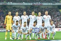 Poland vs Portugal 2:3 . Team of Poland. CHORZOW, POLAND - OCTOBER 11, 2018: Football Nations League division A group 3 match Poland vs Portugal 2:3 . Team of royalty free stock photos