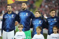 CHORZOW, POLAND - OCTOBER 14, 2018: UEFA Nations League 2019: Poland - Italy o/p Giorgio Chiellini, Gianluigi Donnarumma, Nicolo. Barella stock photo