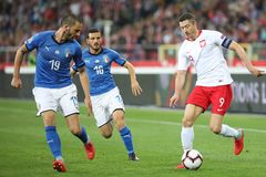 CHORZOW, POLAND - OCTOBER 14, 2018: UEFA Nations League 2019: Poland - Italy o/p Robert Lewandowski, Leonardo Bonucci, Lorenzo. Insigne stock photography