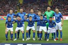 CHORZOW POLEN - OKTOBER 14, 2018: Uefa-nationliga 2019: Polen - Italien o/p Gianluigi Donnarumma, Giorgio Chiellini, Marco arkivbilder