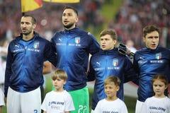 CHORZOW POLEN - OKTOBER 14, 2018: Uefa-nationliga 2019: Polen - Italien o/p Giorgio Chiellini, Gianluigi Donnarumma, Nicolo arkivfoto