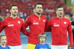 CHORZOW POLEN - OKTOBER 11, 2018: Uefa-nationliga 2019: Polen - Portugal o/p Grzegorz Krychowiak, Lukasz Fabianski, Robert arkivfoton