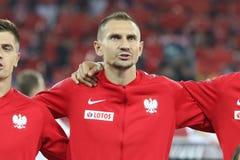 CHORZOW POLEN - OKTOBER 11, 2018: Uefa-nationliga 2019: Polen - Portugal o/p Krzysztof Piatek, Artur Jedrzejczyk, Januari royaltyfri fotografi