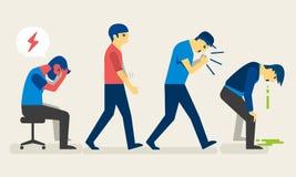 Chorzy ludzie z różnymi objawami, migrena, alergie, kasłanie i puke medyczna pojęcie ilustracja ilustracja wektor