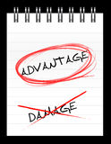 Chose the word ADVANTAGE over DAMAGE Stock Images