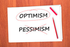 Chose the word OPTIMISM Stock Photos
