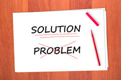 Chose the word SOLUTION. Crossed out the word PROBLEM Stock Photography