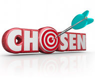 Chosen Word 3d Red Letters Selected Winner Arrow Target. Chosen word in red 3d letters and an arrow in a bullseye or target choosing the lucky winner or person Stock Photography