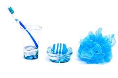Choses bleues pour la salle de bains Images libres de droits