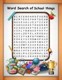 Choses d'école de découverte de mot de jeux de mots croisé pour des jeux d'enfants illustration de vecteur