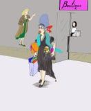 Choses de achat, achats de dame dans la ville Photos libres de droits