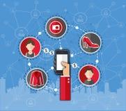Choses de loyer d'Infographics Connectivité de réseau Vente en ligne Téléphone à disposition illustration libre de droits