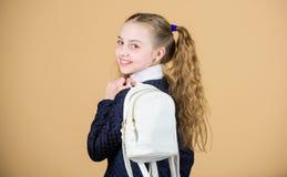 Choses de transport dans le sac à dos Coiffure de queues de cheval d'écolière avec le petit sac à dos Apprenez comment sac à dos  images stock
