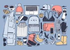 Choses tirées par la main de snowboarding d'illustration de mode Oeuvre d'art créative d'encre Dessin confortable réel de vecteur illustration libre de droits