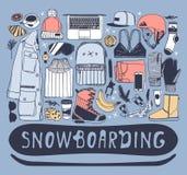 Choses tirées par la main de snowboarding d'illustration de mode Oeuvre d'art créative d'encre Dessin confortable réel de vecteur illustration stock