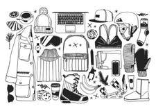 Choses tirées par la main de snowboarding d'illustration de mode Oeuvre d'art créative d'encre Dessin confortable réel de vecteur illustration de vecteur