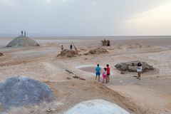 The tourist visit the salt lake Chott El Djerid in Tunisia, Africa royalty free stock images