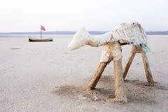 Chott el jerid. Salt lake in desert, Tunisia royalty free stock photo