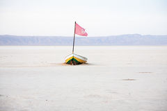 Chott el jerid. Salt lake in desert, Tunisia royalty free stock images