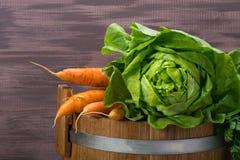 Chou et carottes frais sur un baril en bois pour le salaison images libres de droits
