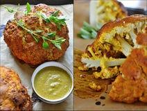 Chou-fleur indien de cari avec de la sauce en bon état Images stock