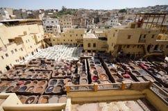 Chouara garbarnia, fez, Maroko obraz stock