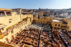 Chouara Tannery in the medina of Fes el Bali royalty free stock photography