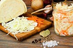 Choucroute, carotte, sel, l'eau, sucre, ail Images libres de droits