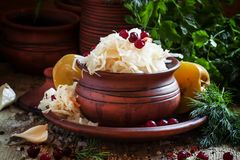 Choucroute russe traditionnelle avec les pommes et le cranberri marinés photo stock