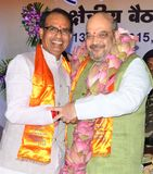 Chouhan, κύριος υπουργός Shivraj singh Madhya pradesh και Amit shah στοκ εικόνες