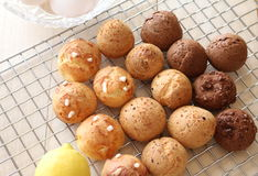 Chouquette. Choux pastry with lemon zest , cheese,  chocolate chips Royalty Free Stock Image