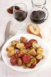 Chourico with potato and champignon Stock Photo