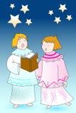 Chourus dos anjos do cartão de Natal Imagens de Stock Royalty Free