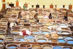 Chouwara传统皮革厂在菲斯,摩洛哥 库存图片