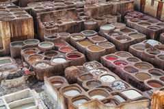 Chouwara Leather traditional tannery in ancient medina of Fes El Bali, Morocco Royalty Free Stock Photos