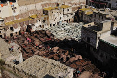 Chouwara tannery. Aerial view of the Chouwara tannery showing unhealthy and dirty working conditions for the tannery workers Royalty Free Stock Images