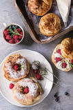 Choux cake Paris Brest with raspberries Stock Photography