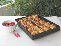 Choux a la creme 5. Homemade choux pastry ball placed on baking tray Stock Images