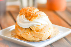Choux pastry,choux cream,eclair Royalty Free Stock Images