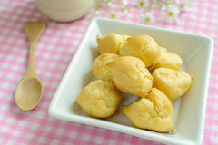 Choux pastry cream puffs with milk Royalty Free Stock Photography