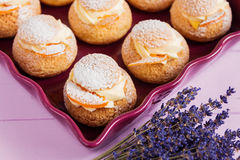 Choux pastry with custard Royalty Free Stock Photography