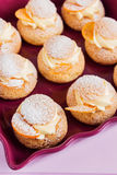 Choux pastry with custard Royalty Free Stock Photo