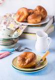 Choux pastry eclair ring with custard cream Stock Photography
