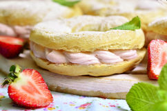 Choux pastry ring with filling. Stock Photo